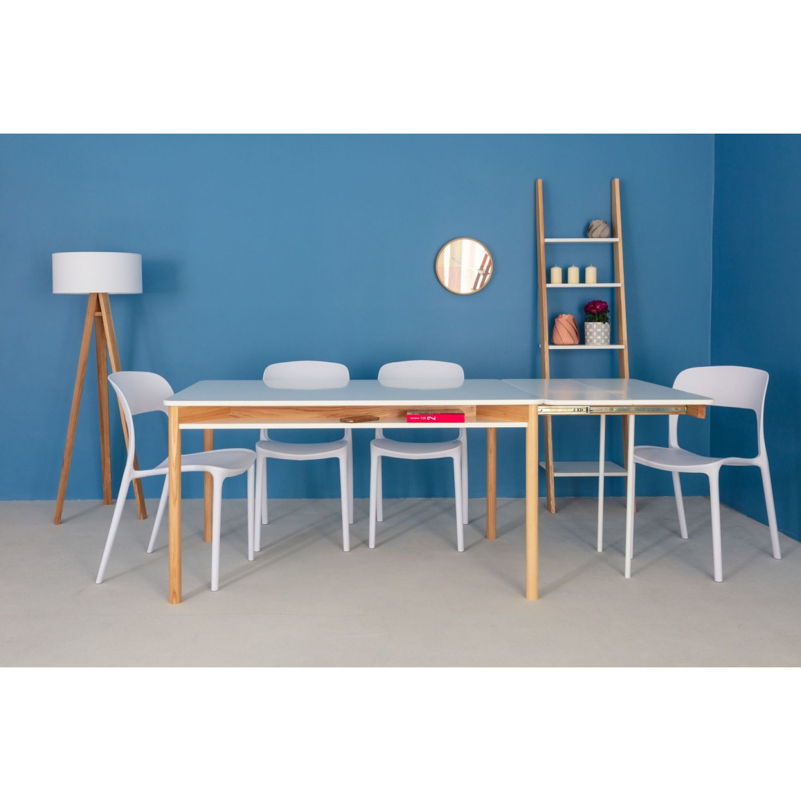 Zeen Extendable Dining Table with Shelf   White