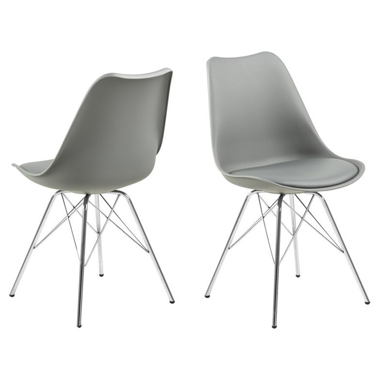 Chair Hera Plastic Set of 2   Grey