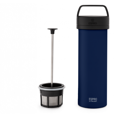 Reise-French-Press mit Kaffeefilter P0 Ultraleicht 475 ml | Blau
