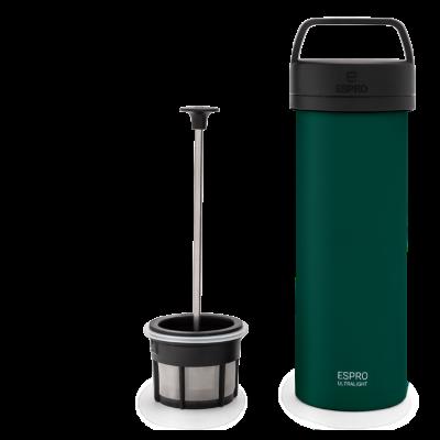 Reise-French-Press mit Kaffeefilter P0 Ultraleicht 475 ml | Grün