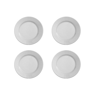 4er-Set Teller Gestreift | Weiß