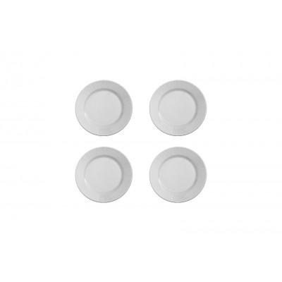 4er-Set Suppenteller Gestreift | Weiß