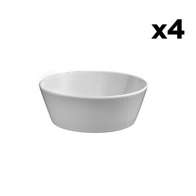4er-Set Schalen Gestreift | Weiß