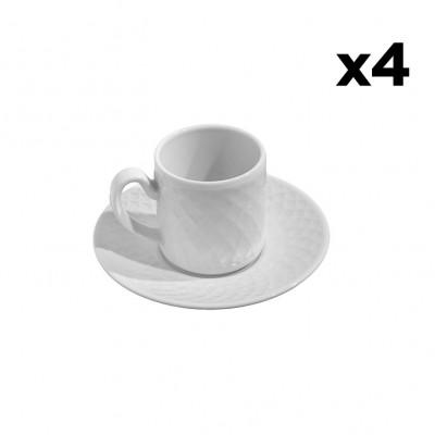4er-Set Tassen mit Untertasse Arabesque | Weiß