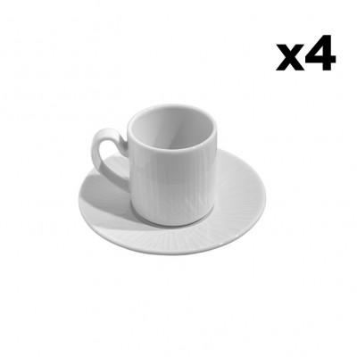 4er-Set Tassen mit Untertasse Gestreift | Weiß