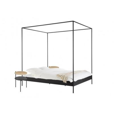 Bett Eton mit 2 Nachttischen Tu | Schwarz & Eiche