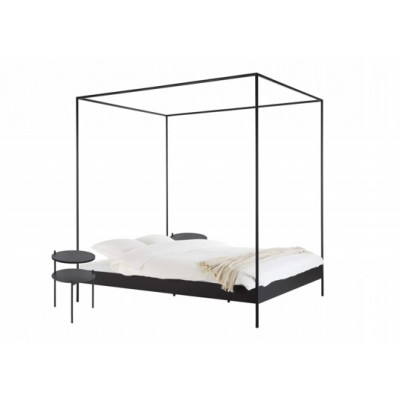 Bett Eton mit 2 Nachttischen Tu | Schwarz