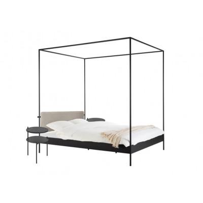 Bett Eton mit Kopfteil & 2 Nachttischen Tu | Schwarz