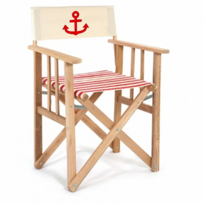 Director Chair Striped | Red with Anchor