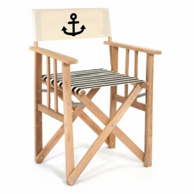 Director Chair Striped | Black with Anchor
