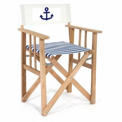 Director Chair Striped | Blue with Anchor