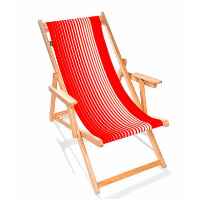 Strandstuhl | Farbverlauf Rot-Natur Gestreift