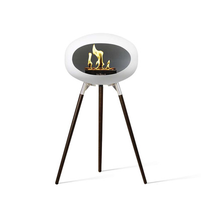Bio Fireplace Ground Wood White 79 cm | Black Oak