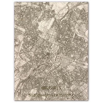 Wooden Wall Decoration | City Map | Brussel-