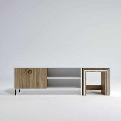 TV-Ständer mit Couchtisch L502 I Weiß