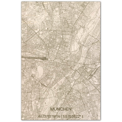 Wooden Wall Decoration | City Map | München