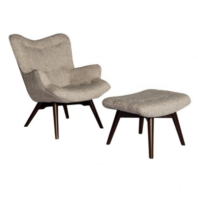 Vintage Chair & Hocker   Farbe David 185 Grau inkl. Eichenbeine