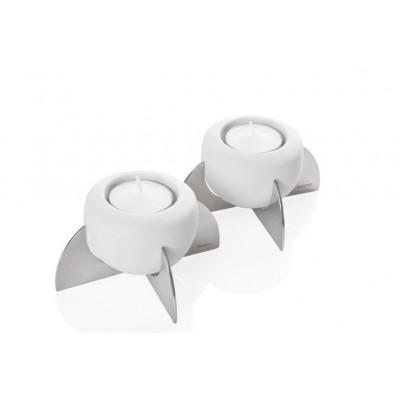 Set of 2 Rocket Tea Light Holder White