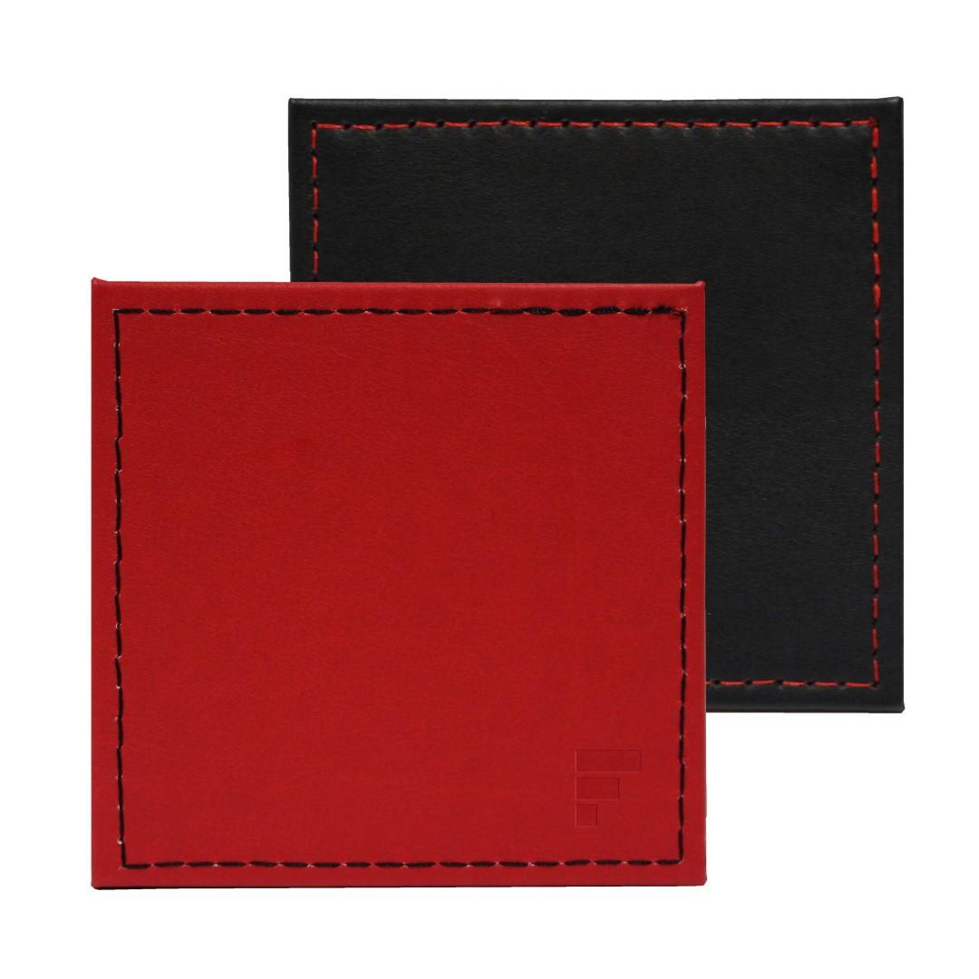 Umkehrbare Quadratische Untersetzer 4er-Set   Rot / Schwarz