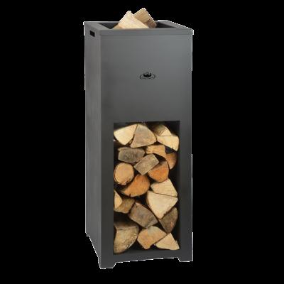 Feuerkorb mit Holzfach