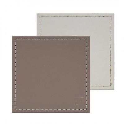 Umkehrbare Quadratische Untersetzer 4er-Set | Taupe / Weiß