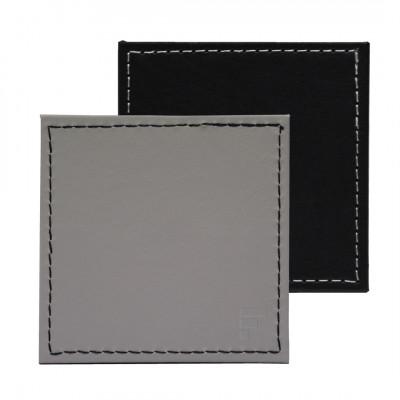Umkehrbare Quadratische Untersetzer 4er-Set | Schwarz / Grau