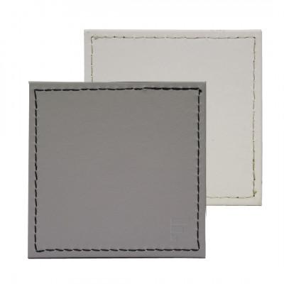 Umkehrbare Quadratische Untersetzer 4er-Set | Weiß / Grau