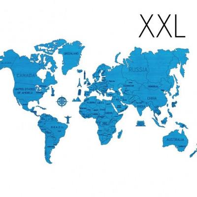 3D Puzzle Wood World Map XXL | Blue