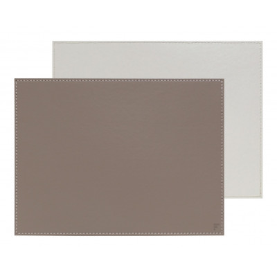 Umkehrbares Rechteckiges Tischset | Taupe / Weiß