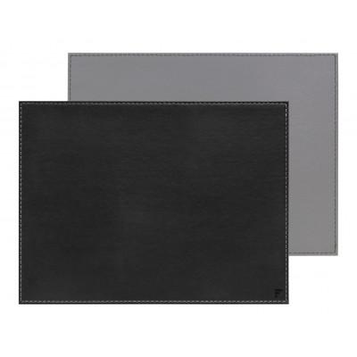 Umkehrbares Rechteckiges Tischset | Schwarz / Grau