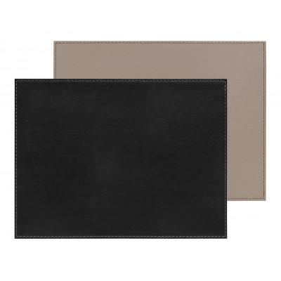 Umkehrbares Rechteckiges Tischset | Schwarz /  Taupe