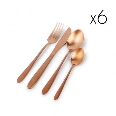 24er-Set Besteck Slim | Roségold