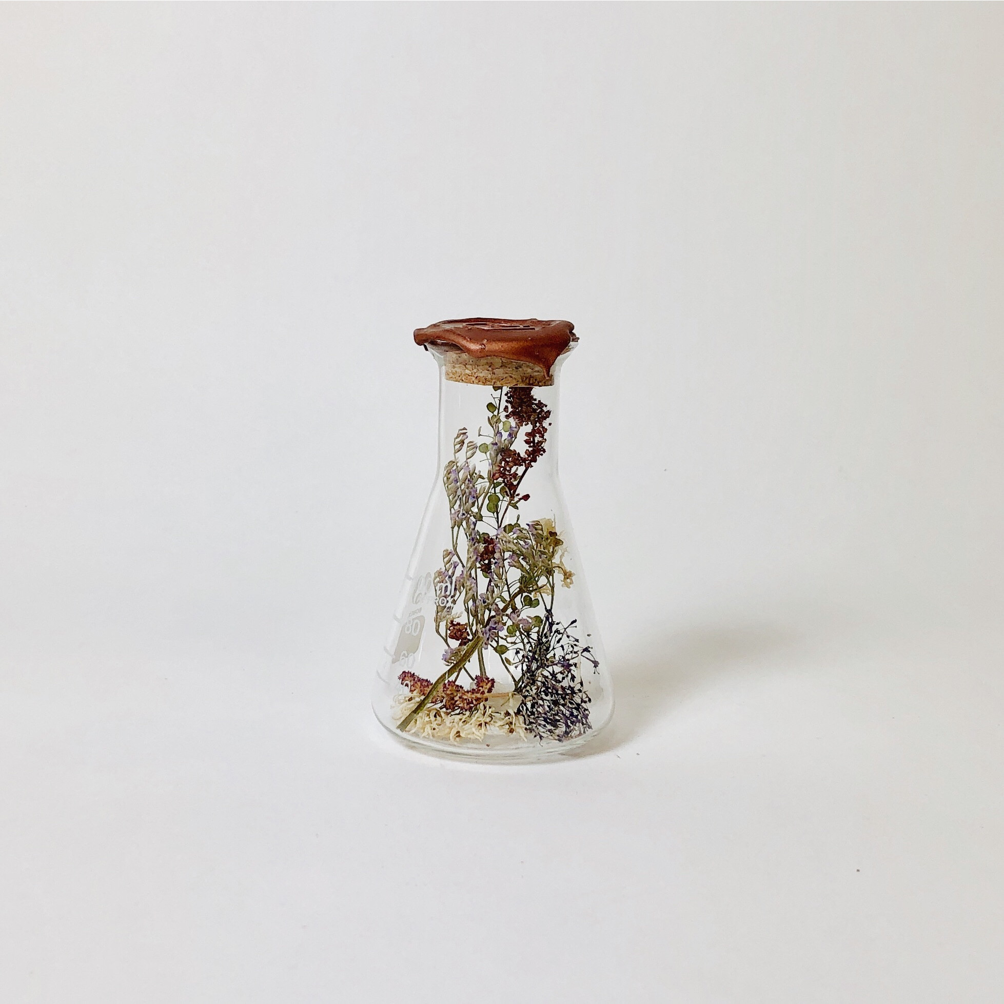 Erlenmeyer with Dried Flowers Small   Kibo Brass