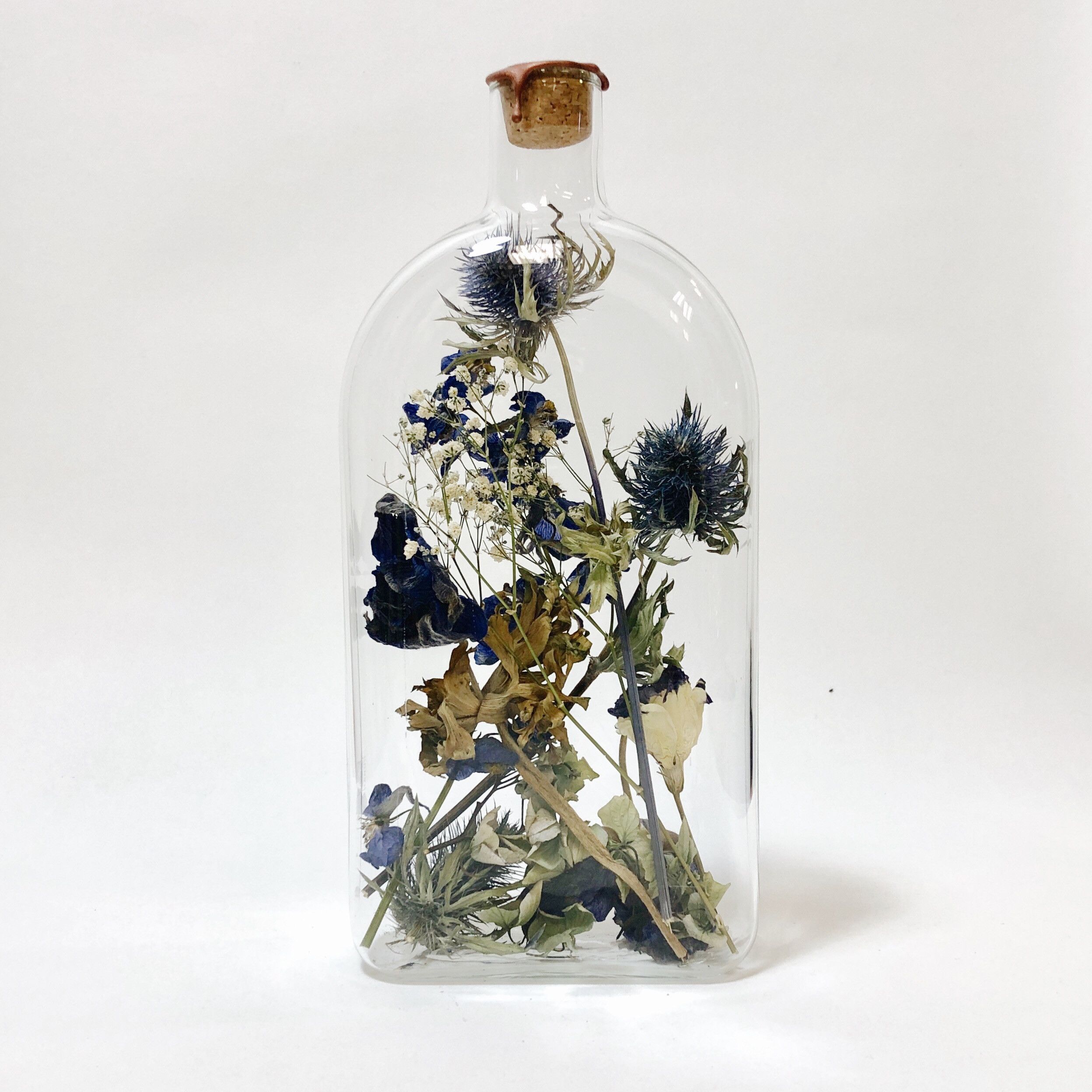 Bottle with Dried Flowers Large   Tama Brass
