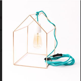 Tischlampe Home   Gold + Blaues Kabel