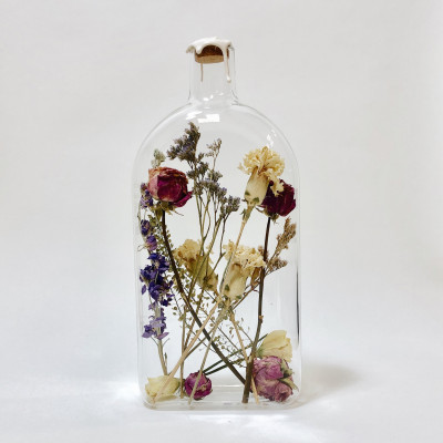 Bottle with Dried Flowers Large | Tama White
