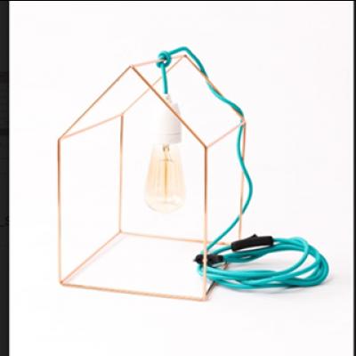 Tischlampe Home | Gold + Blaues Kabel