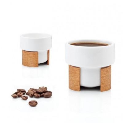 WARM Set of 2 Expresso Cups   White/Oak