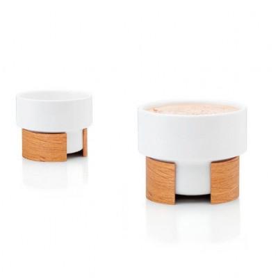 WARM Set of 2 Cappuccino Cups   White/Oak