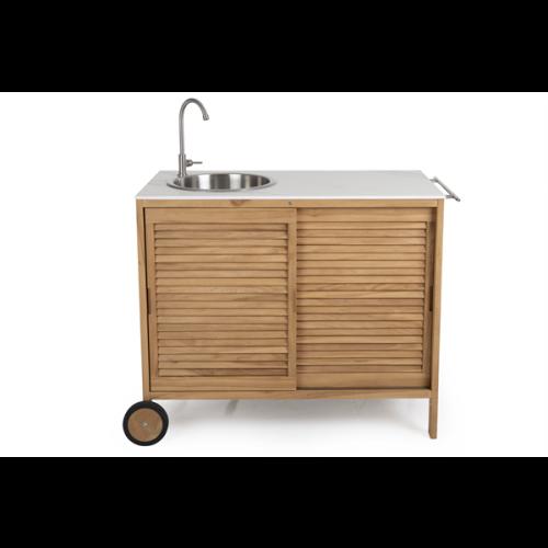 Outdoor-Küche Figalia | Helles Holz & Marmor