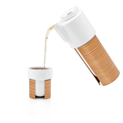 WARM TeaPot/Coffee Pot Large | White/Oak