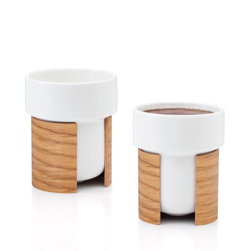 WARM 2er-Set Tee- und Kaffeetassen | Weiß/Eiche