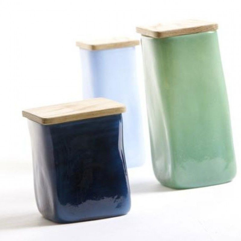Glass jar with squared lid Blue