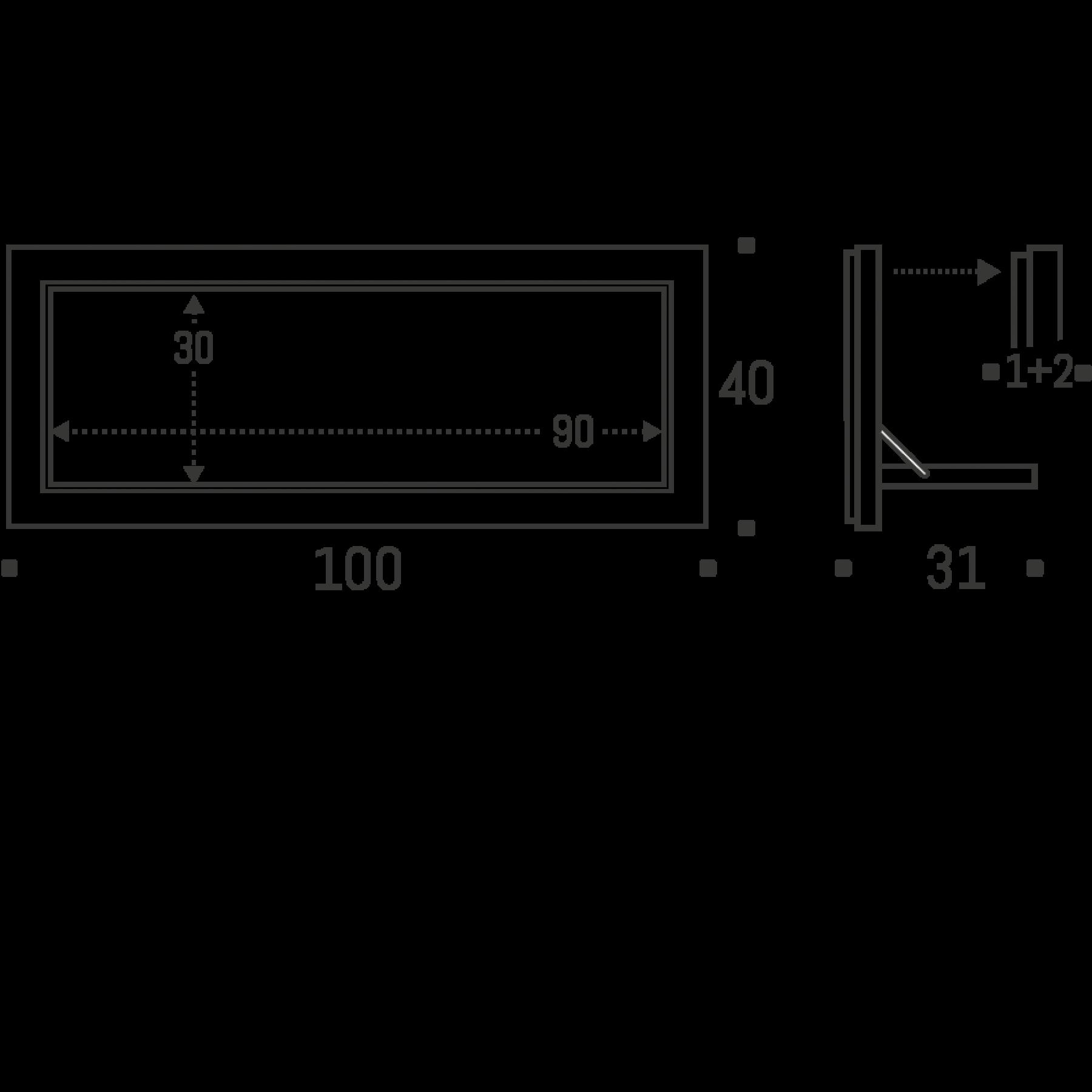 Legboord Fläpps 100×40 cm | Wit