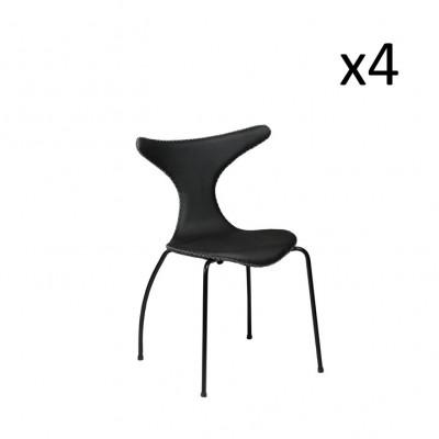 Stuhl Dolphin | Schwarzes Leder & schwarze Beine | 4er-Set