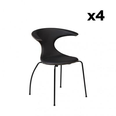 4er Set Stühle Flair | Schwarzes Leder & schwarze Beine