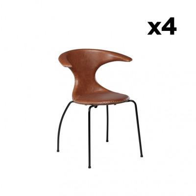 4er Set Stühle Flair | Hellbraunes Leder & Schwarze Beine