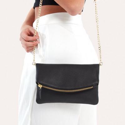 Leather Bag Flap Clutch | Black