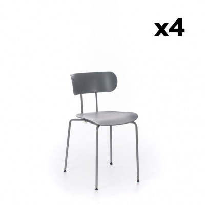 4er-Set Stühle Fly   Grau