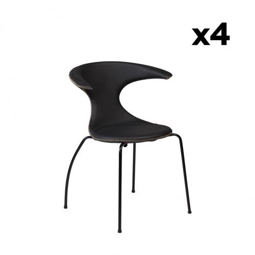 4er Set Stühle Flair   Schwarzes Leder & schwarze Beine